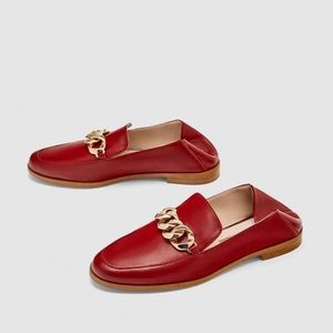 Zara 100% red leather loafers with gold chain